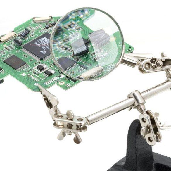 Fahrenheit paneltartó nagyítóval és krokodil csipeszel  harmadik kéz 10102