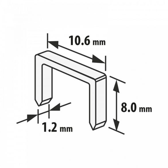 Tűzőkapocs - 1,2 x 10,6 x 8 mm - 1000 db 10443