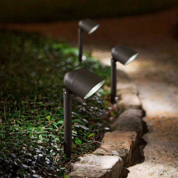 LED-es szolár lámpa fényvetővel - fekete - 410 mm