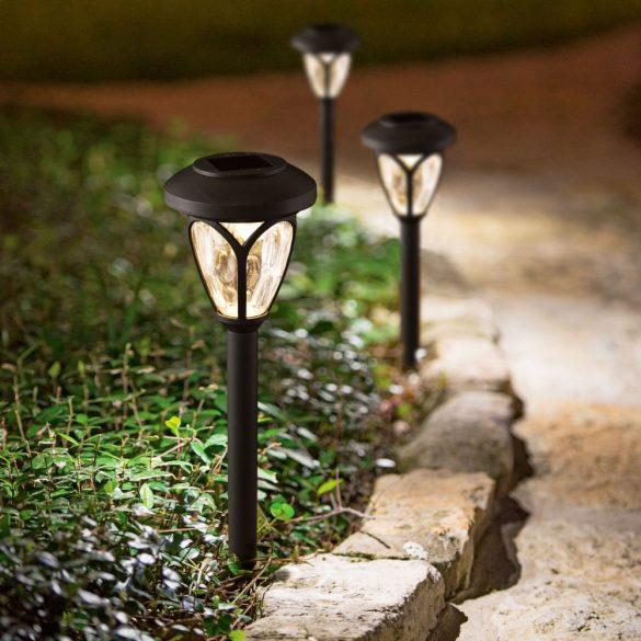 LED-es szolár lámpa - leszúrható, mintás plexivel - fekete - 400 mm