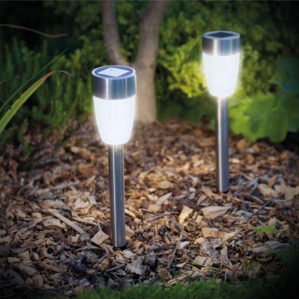 LED-es szolár lámpa - leszúrható - hidegfehér, fém - 370 mm