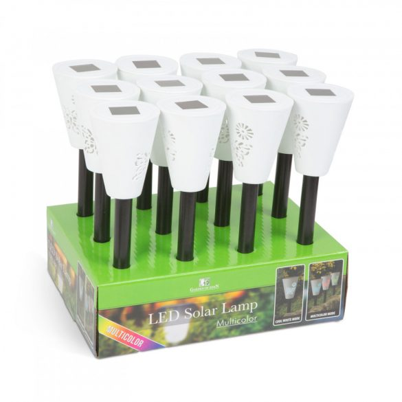 LED-es szolár lámpa - hidegfehér / RGB - fehér - műanyag
