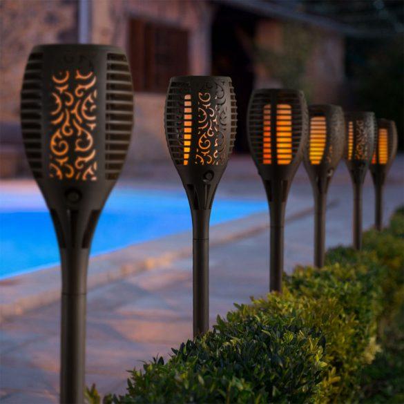 Lángokat imitáló szolár LED lámpa - fekete - műanyag