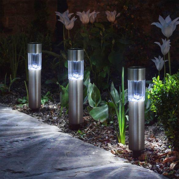 LED szolár lámpa fém - henger alakú 20 cm, 11377