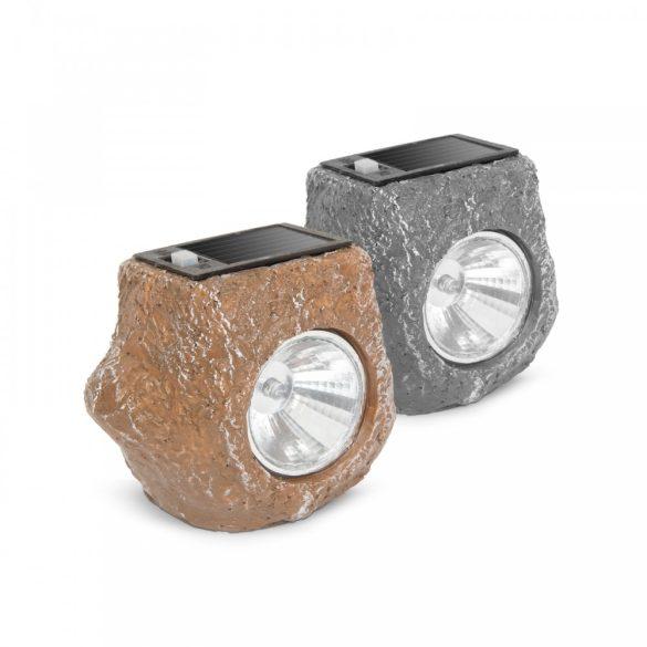 """LED-es kültéri szolárlámpa - """"szürke kő"""" - hidegfehér - 80 x 56 x 70 mm 11389D"""