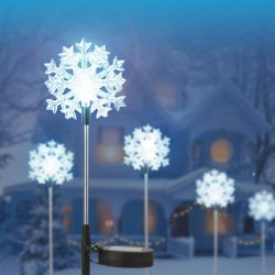 LED-es szolár lámpa hópehely 11393C