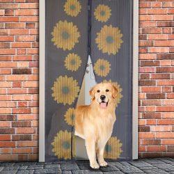 Delight Szúnyogháló függöny ajtóra mágneses, napraforgó mintás  100x210 cm, Delight 11398A