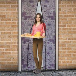 Szúnyogháló függöny ajtóra mágneses 100 x 210 cm Lila pillangós,11398G