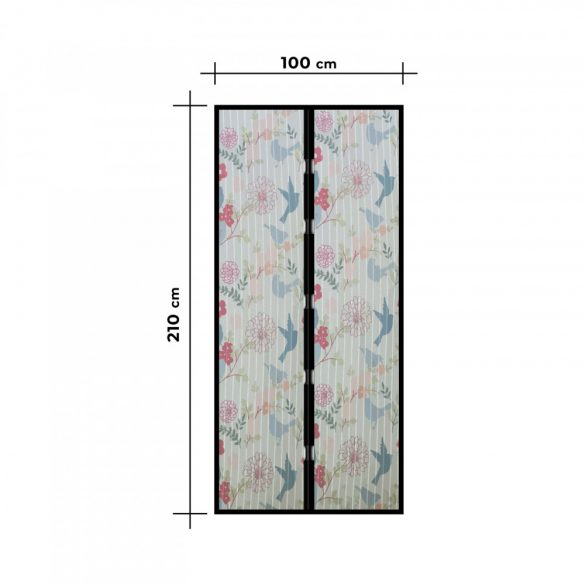 Szúnyogháló függöny ajtóra -mágneses- 100 x 210 cm - madár mintás  11398J