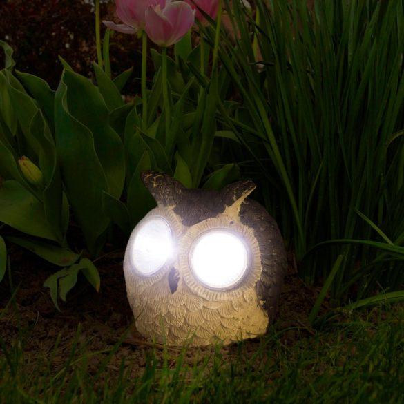 LED-es szolár állatfigura bagoly 3 féle színben, 11426A
