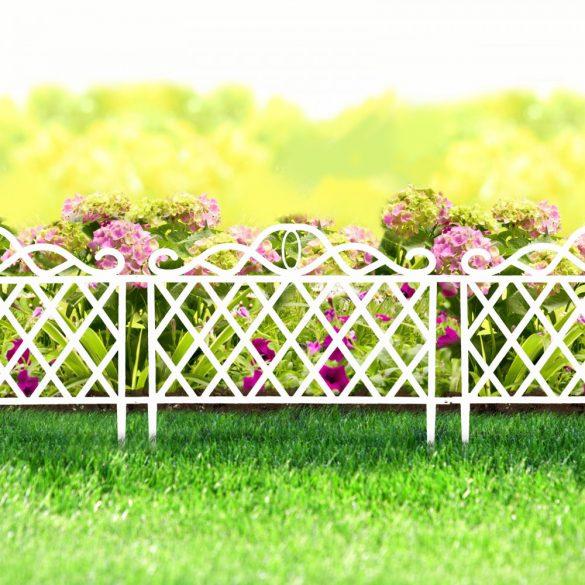Virágágyás szegély / kerítés 45 x 35 cm - fehér