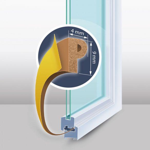"Öntapadós ajtó- ablakszigetelő ""P"" profil - 6 m barna - 9 mm, 11597BR"