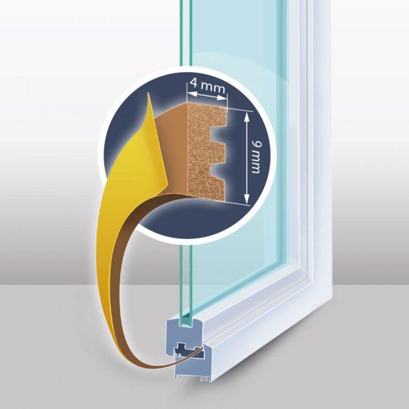 Öntapadós ajtó- ablakszigetelő - E profil - 9 mm x 100 m - barna