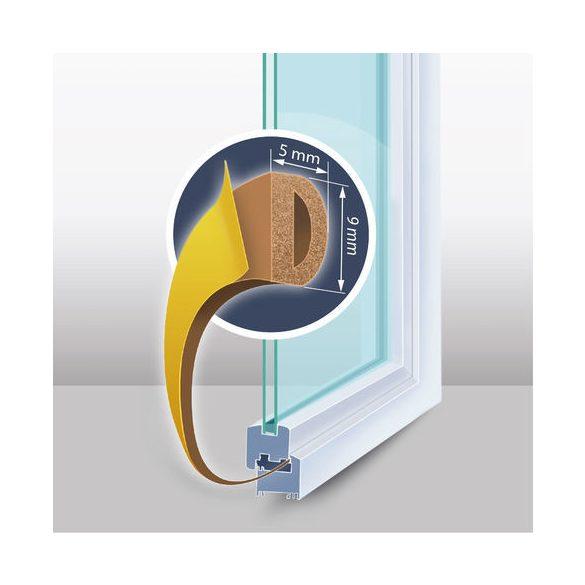 Öntapadós ajtó- ablakszigetelő - D profil - 9 mm x 100 m - barna