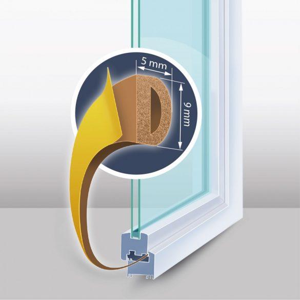 """Öntapadós ajtó- ablakszigetelő """"D"""" profil - 6 m barna 9 mm, 11599BR"""