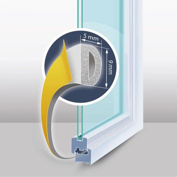 """Öntapadós ajtó- ablakszigetelő """"D"""" profil - 6 m fehér 9 mm,11599WH"""