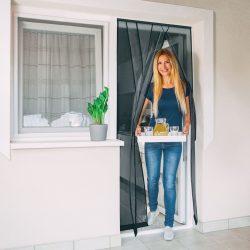 Szúnyogháló függöny ajtóra 4 db szalag max. 100 x 220 cm fekete 11608BK