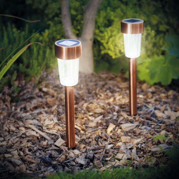 Led-es kültéri szolár lámpa 300x45 mm fém, rozéarany