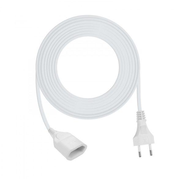 Hálózati hosszabbító fehér 5 m euro aljzat  H05VVH2-F 2 x 0,75 mm² 20136-5