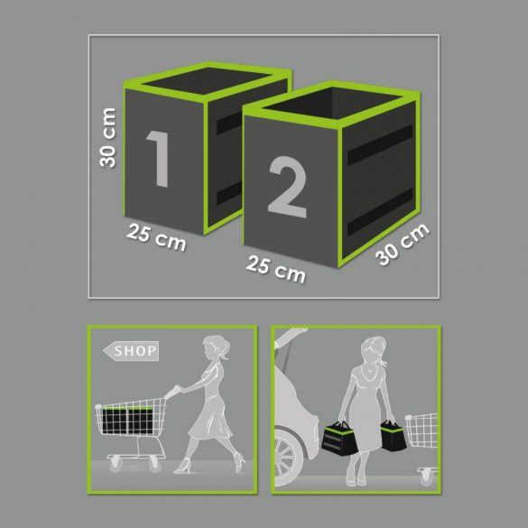 Autós rendszerező csomagtartóba 1 tárolórekesszel 25 x 30 x 30 cm 2 db / csomag  54925