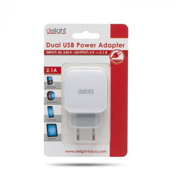Delght USB Hálózati adapter 2xUSB fehér 55045-2WH