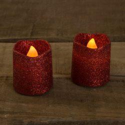 LED gyertya piros színű  2 db / bliszter