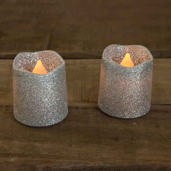 LED gyertya ezüst színben 2 db / bliszter