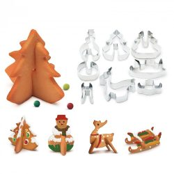 Sütikiszúró forma 3D - fenyőfa, hóember - 16 db / szett 55990B