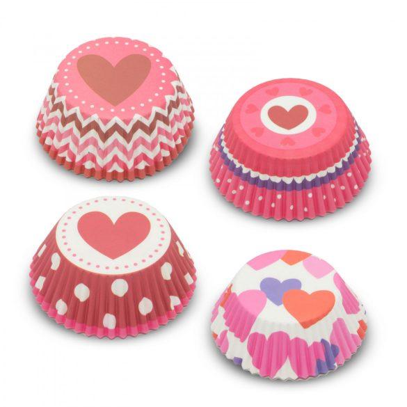 Muffin papír szett - szív - 100 db / csomag
