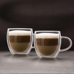 Duplafalú cappucino üveg csésze - 250 ml - 2 db / doboz 57176B