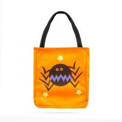 Halloween ajándéktáska - textil, pók, 18 x 22 cm  58077A