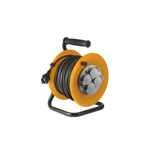 Kábeldob, fém talp, 4 földelt aljzat, gumi kábel 25m, IP44 HJR 10-25/1.0