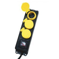 Hálózati elosztó, kapcsolós,3 aljzat, 1,5m, IP44, fekete NVO 03K/BK