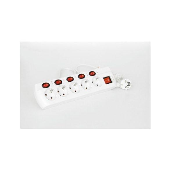 Steck Túláramvédős külön kapcsolható elosztó, 5 aljzat, 1,5 m SEK 515K