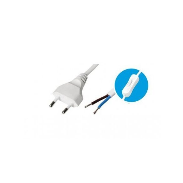 Steck Flexo kábel, SHK 01F  , fehér, 3 m, kapcsolóval szerelt vezeték