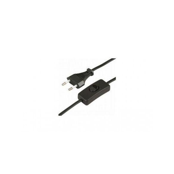 Flexio kábelSHK 02 Steck, fekete, 3 m, kapcsolóval   szerelt vezeték